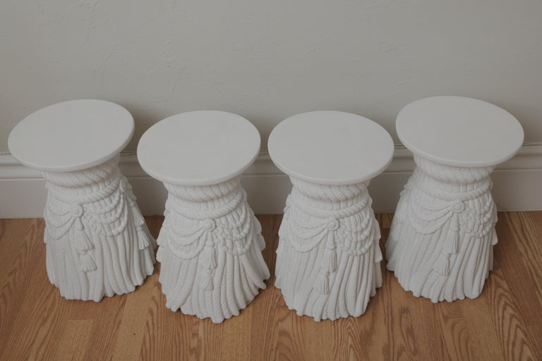 Two Pairs of Hollywood Regency Drapery and Swag Side Tables For Sale 1