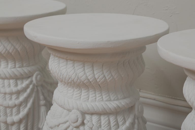 Two Pairs of Hollywood Regency Drapery and Swag Side Tables For Sale 4