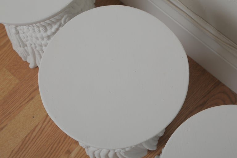 Two Pairs of Hollywood Regency Drapery and Swag Side Tables For Sale 5