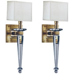 Two Pairs of Mid-Century Modern Crystal and Brass Sconces, style of Andre Arbus