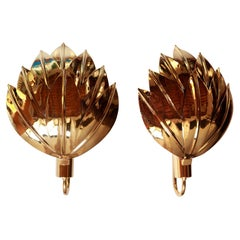 Two Pairs of Large Brass Gilded Palm Sconces, Maison Jansen Attribution