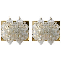 Two Pairs of Large Kalmar 'Tulipan' Wall Lights Sconces, Glass Brass, 1960s