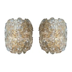 Two Pairs of Mid-Century Modern Murano Clear/Gold Glass Flower Sconces, Barovier