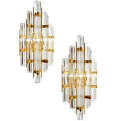 Two Pairs of Murano Glass Sconces, Attributed to Venini, Priced by Pair