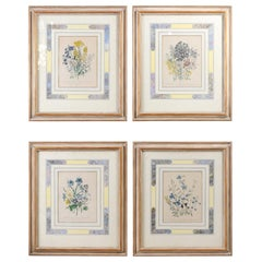 Two Pairs of Original English Hand-Colored Floral Lithographs by Jane London