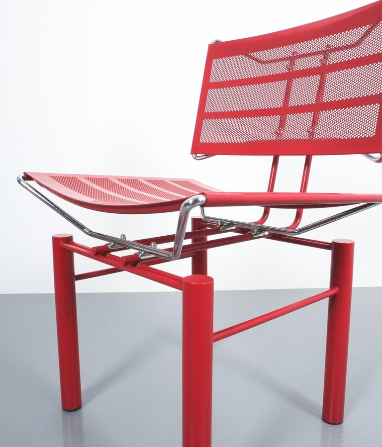 Two Pairs of Red Hans Ullrich Bitsch Chairs Series 8600 For Sale 2