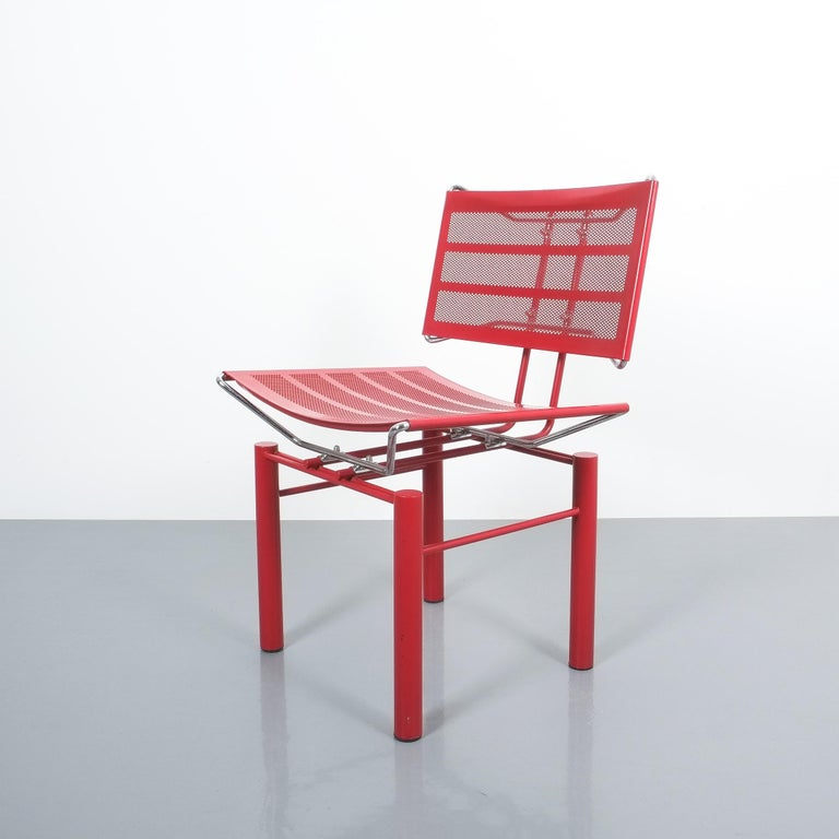 Two Pairs of Red Hans Ullrich Bitsch Chairs Series 8600 For Sale 3