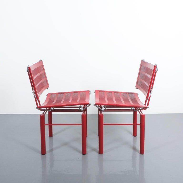 Two Pairs of Red Hans Ullrich Bitsch Chairs Series 8600 For Sale 4