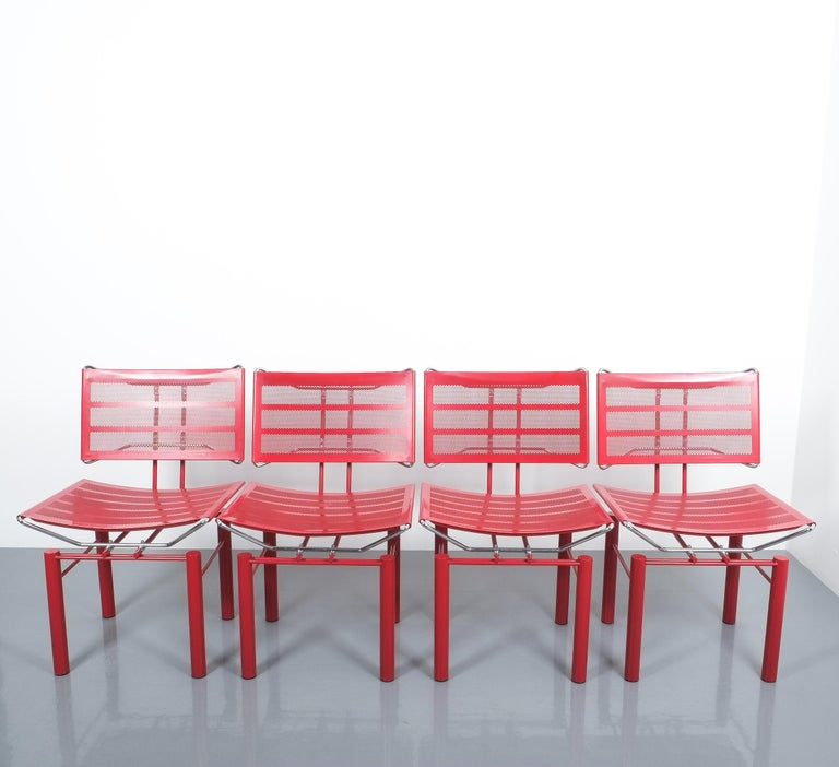 Two Pairs of Red Hans Ullrich Bitsch Chairs Series 8600 For Sale 5