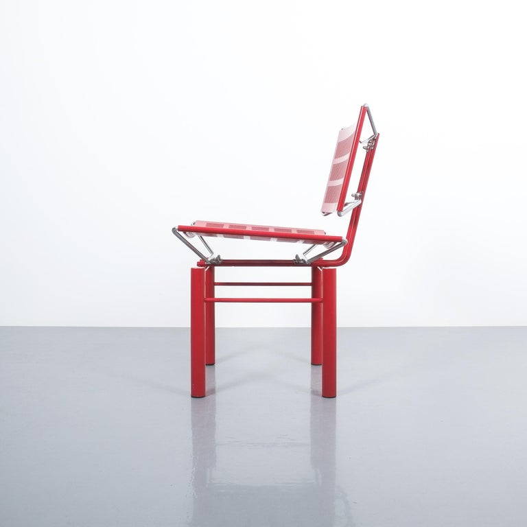 Enameled Two Pairs of Red Hans Ullrich Bitsch Chairs Series 8600 For Sale