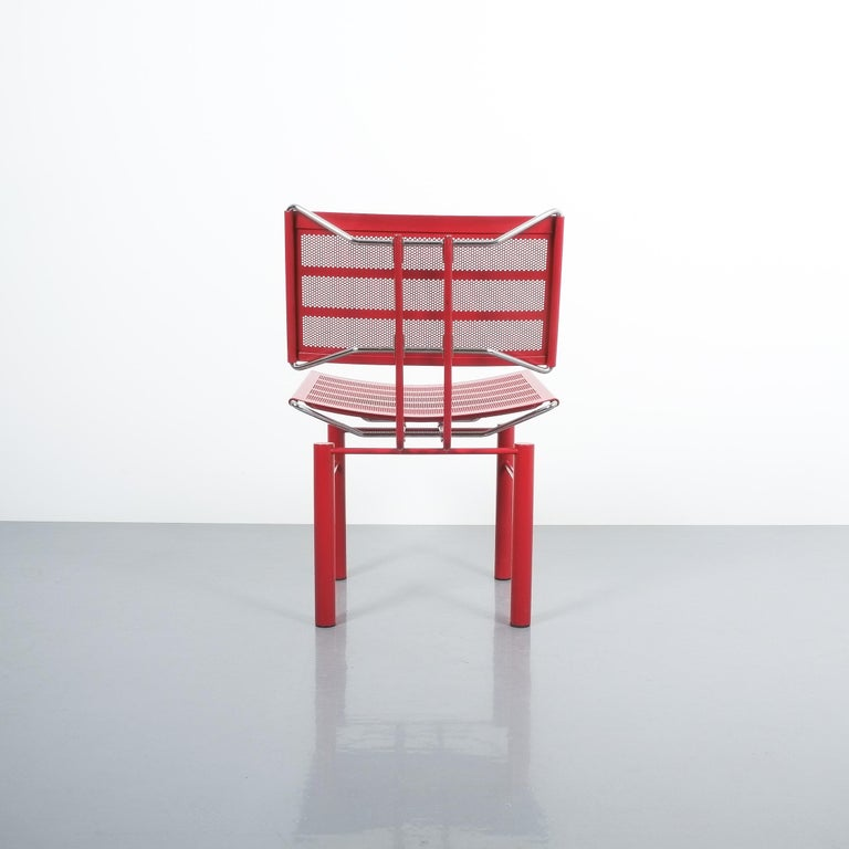 Two Pairs of Red Hans Ullrich Bitsch Chairs Series 8600 In Good Condition For Sale In Vienna, AT
