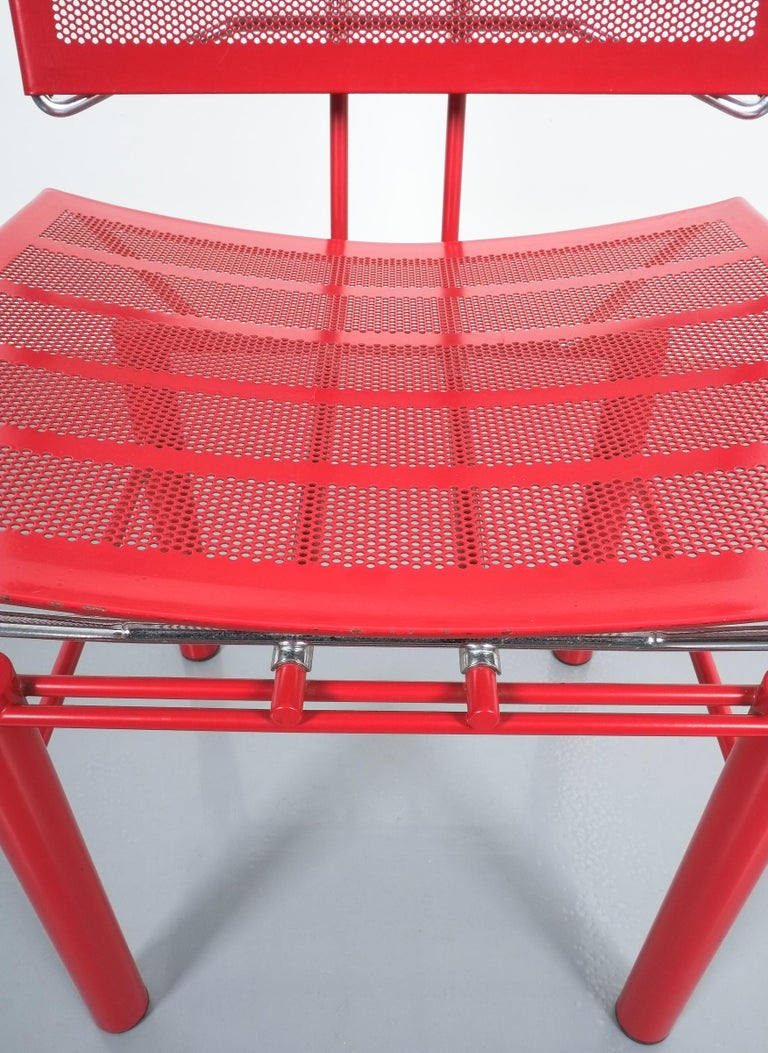 Chrome Two Pairs of Red Hans Ullrich Bitsch Chairs Series 8600 For Sale