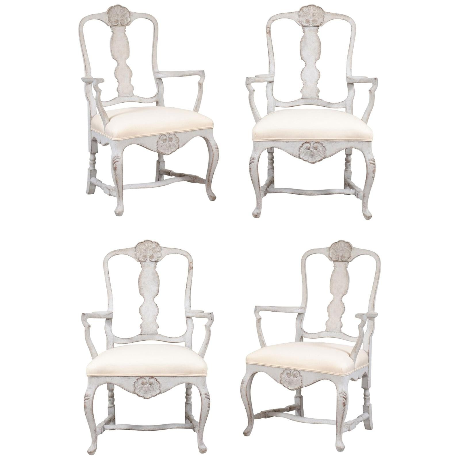 Two Pairs of Scandinavian Rococo Style Painted Armchairs with New Upholstery