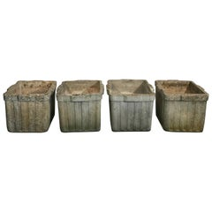 Two Pairs of Square Ribbed Willy Guhl Planters by Eternit with Lovely Patina