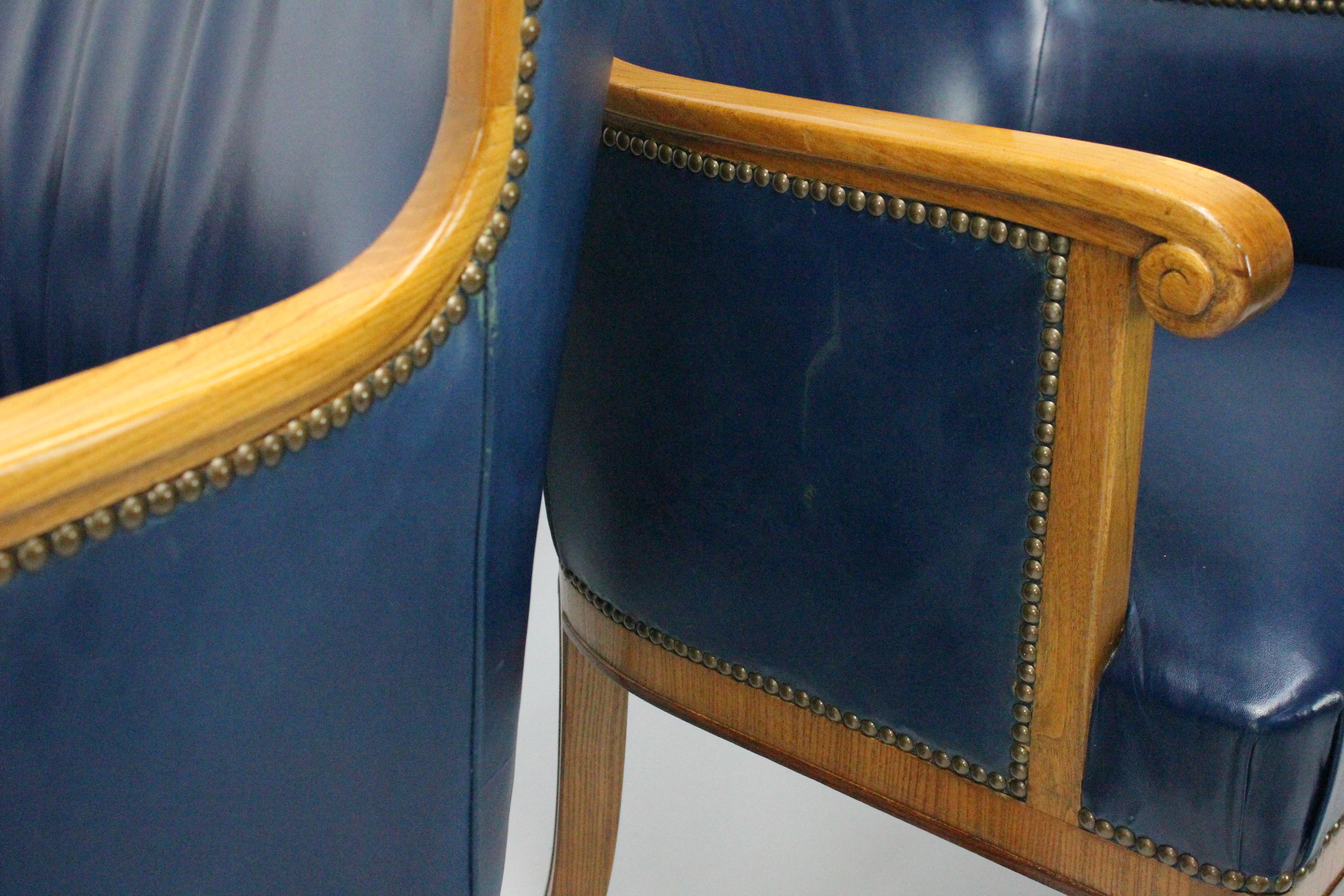 Two Pairs of Swedish 1930s Armchairs by Bodafors in Elm and Royal Blue  Leather