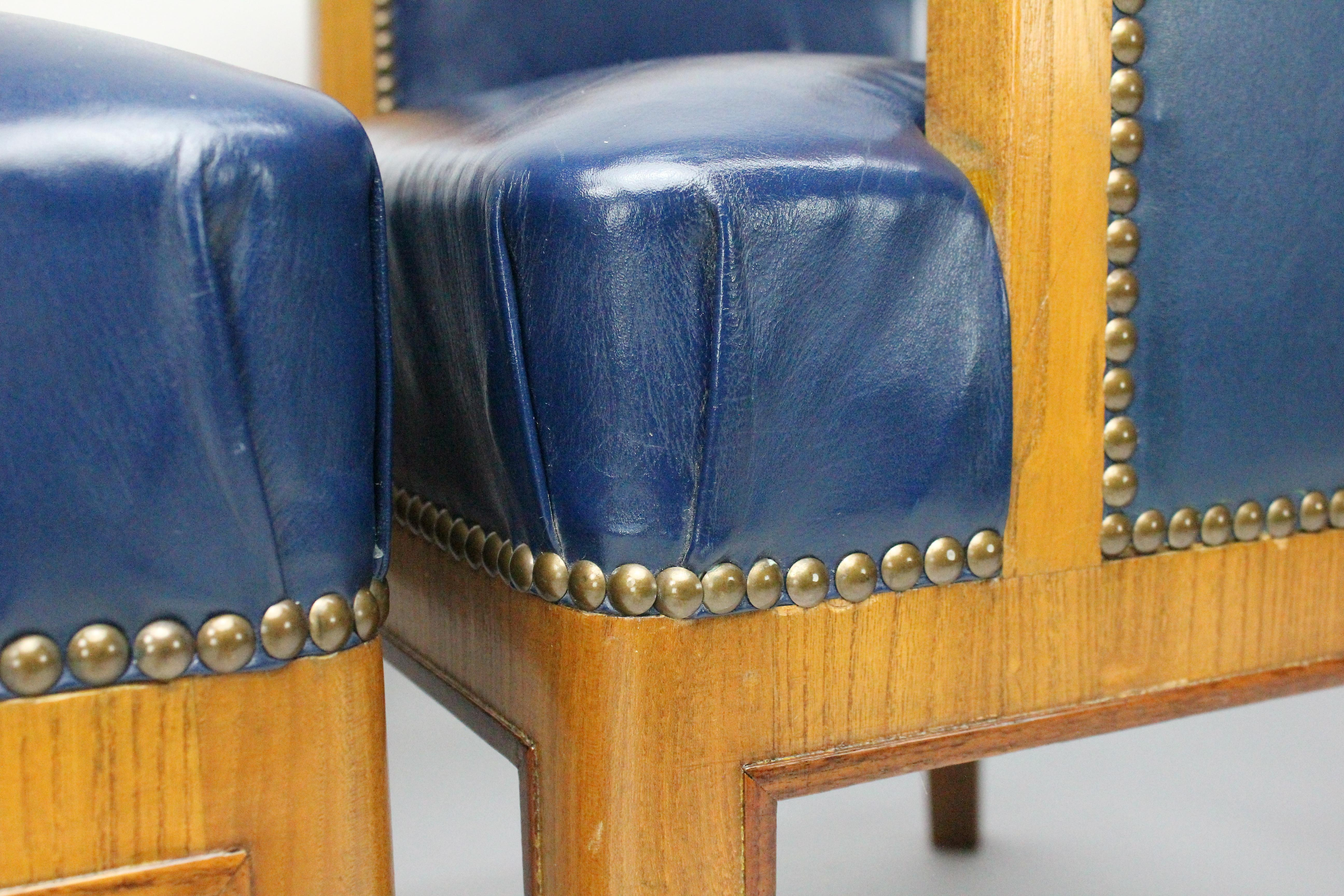 Strange Two Pairs Of Swedish 1930S Armchairs By Bodafors In Elm And Royal Blue Leather Pdpeps Interior Chair Design Pdpepsorg