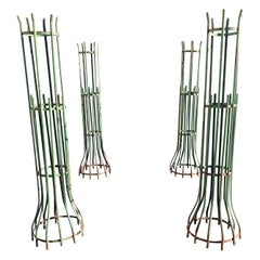 Two Pairs of Two-Piece French Wrought Iron Tree Guards