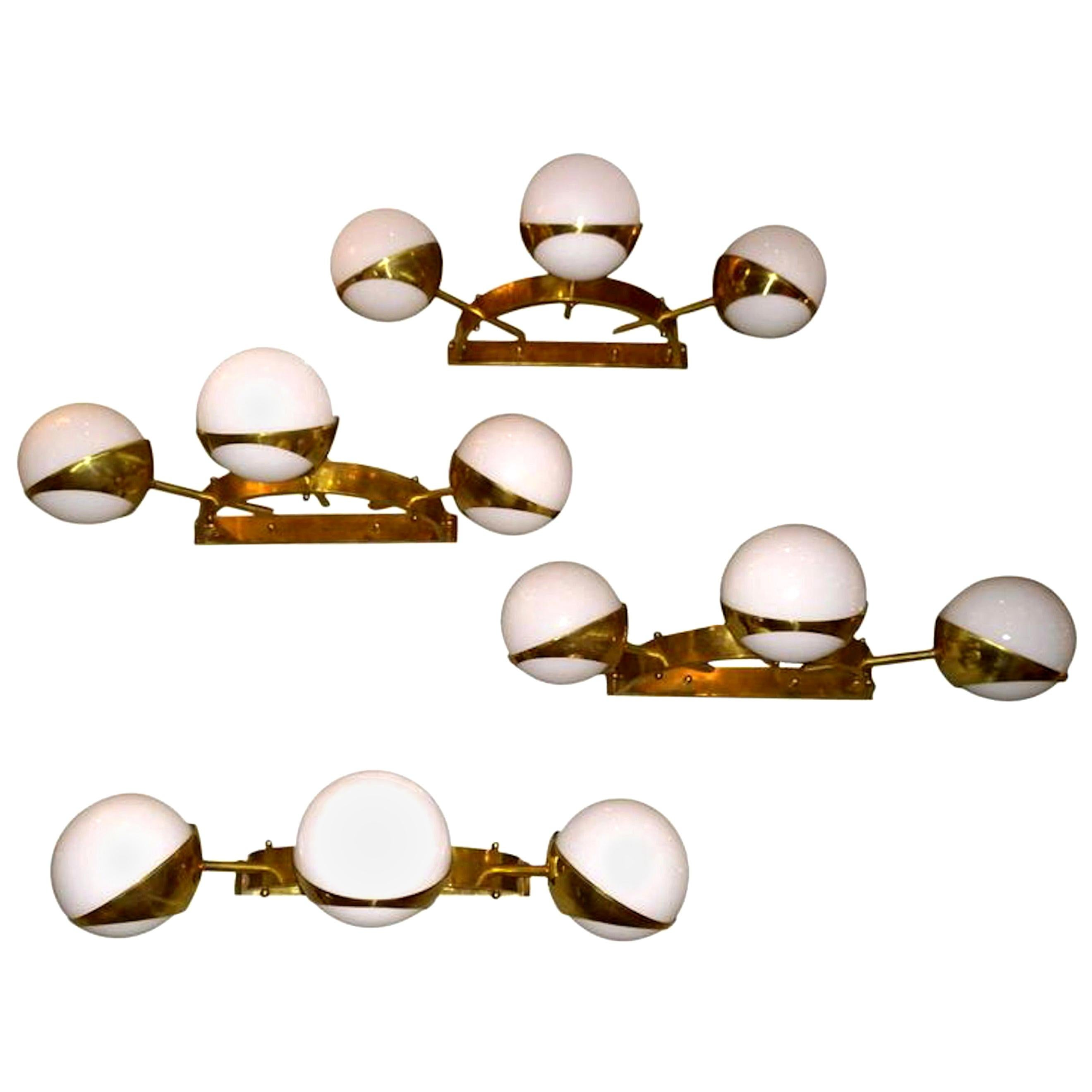 Two Pairs of White Glass Balls and Brass Sconces, Attributed to Stilnovo, 1960s