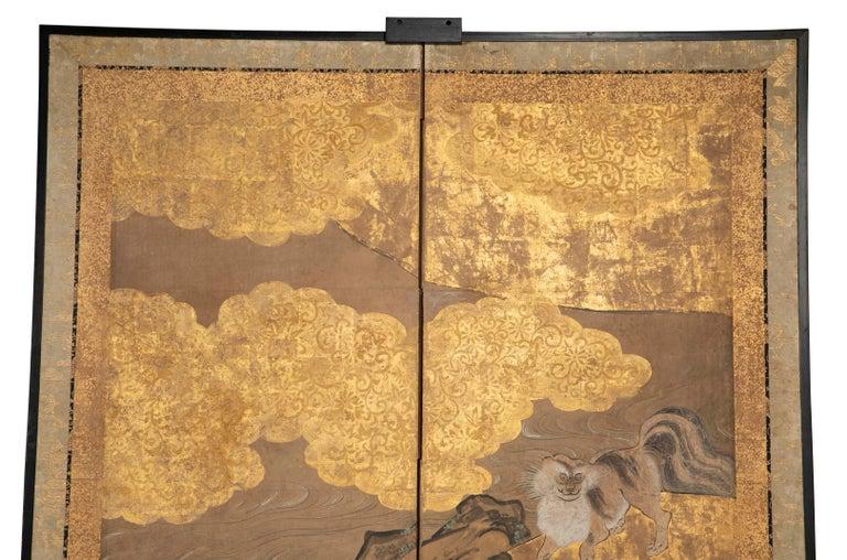 Meiji Two-Panel Japanese Kano School Style Screen For Sale