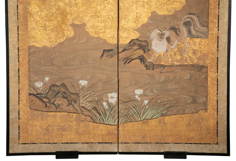 Painted Two-Panel Japanese Kano School Style Screen For Sale