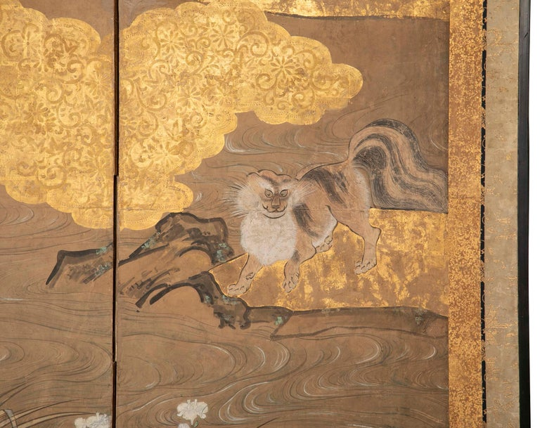 Two-Panel Japanese Kano School Style Screen In Good Condition For Sale In Stamford, CT