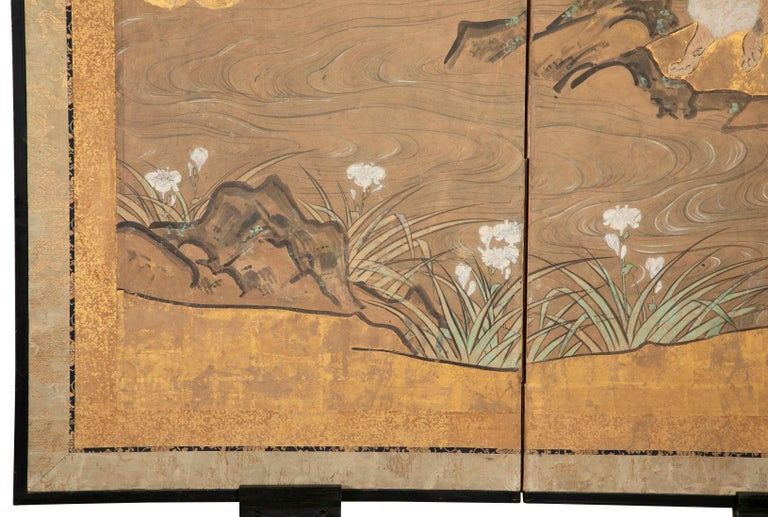 Mid-19th Century Two-Panel Japanese Kano School Style Screen For Sale