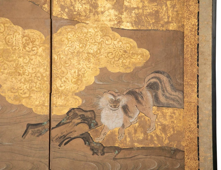 Paper Two-Panel Japanese Kano School Style Screen For Sale