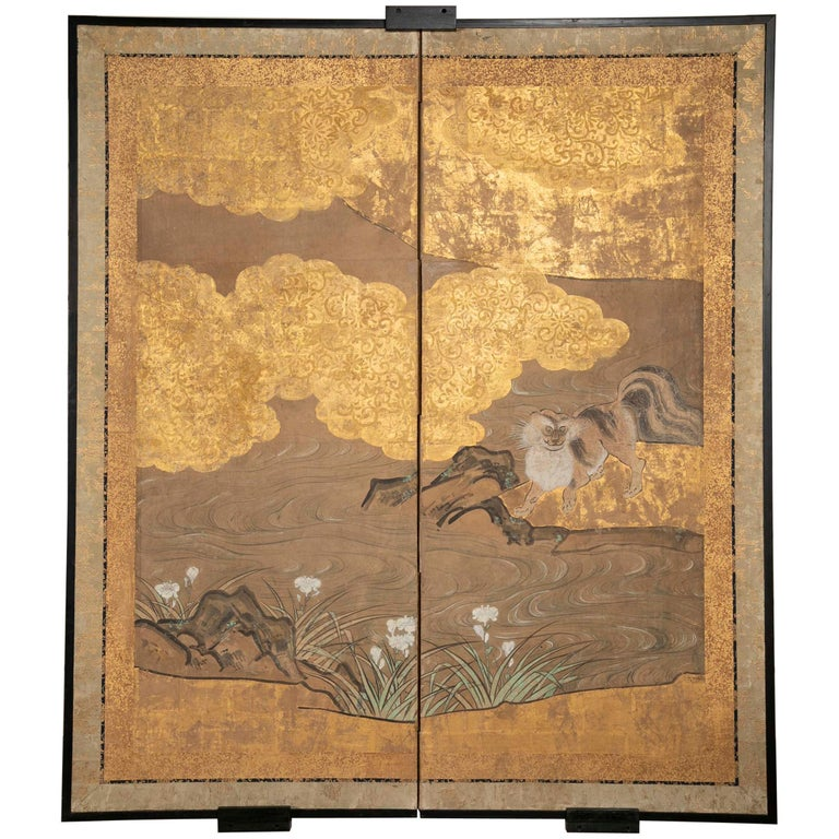 Two-Panel Japanese Kano School Style Screen For Sale