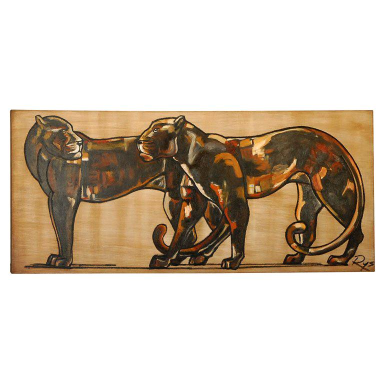 """""""Two Panthers""""Art Deco Painting"""