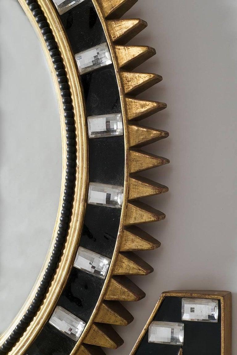 American Two Part Art Deco Sunburst Mirror For Sale