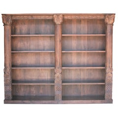 Two Part Large Barrister Teak Wood Bookcase Using 19th Century Columns and Doors