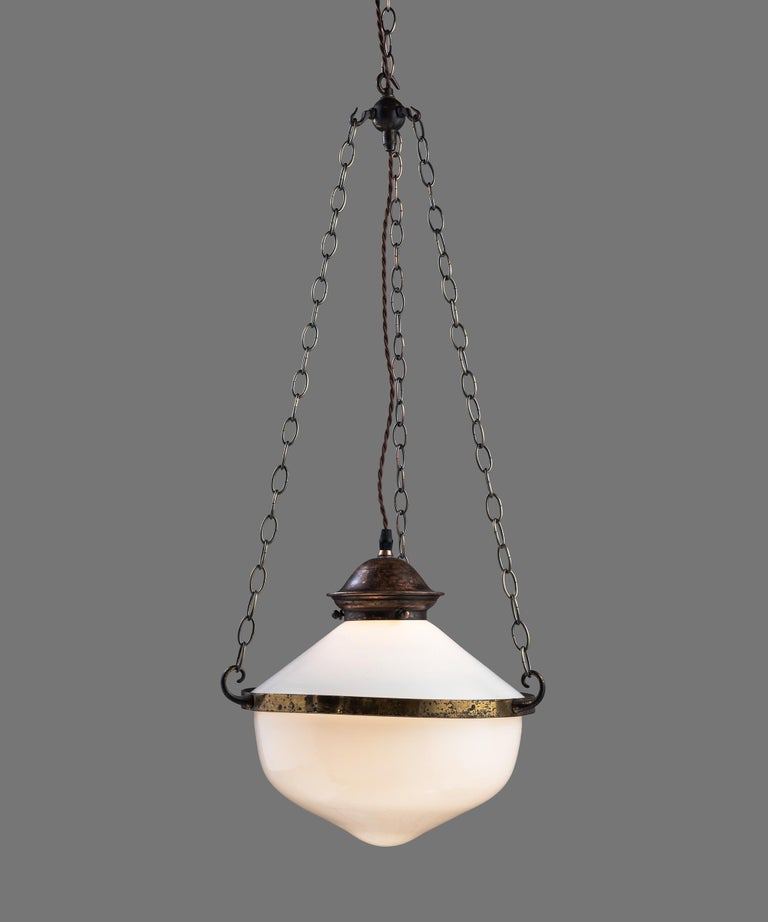 English Two Part Opaline Suspension Lamps, England, circa 1930
