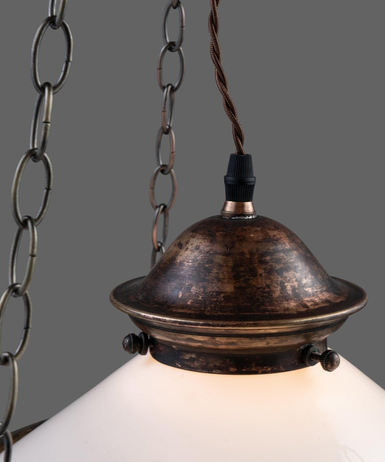 Mid-20th Century Two Part Opaline Suspension Lamps, England, circa 1930