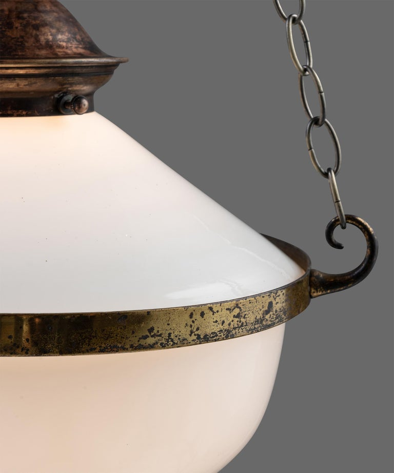 Brass Two Part Opaline Suspension Lamps, England, circa 1930