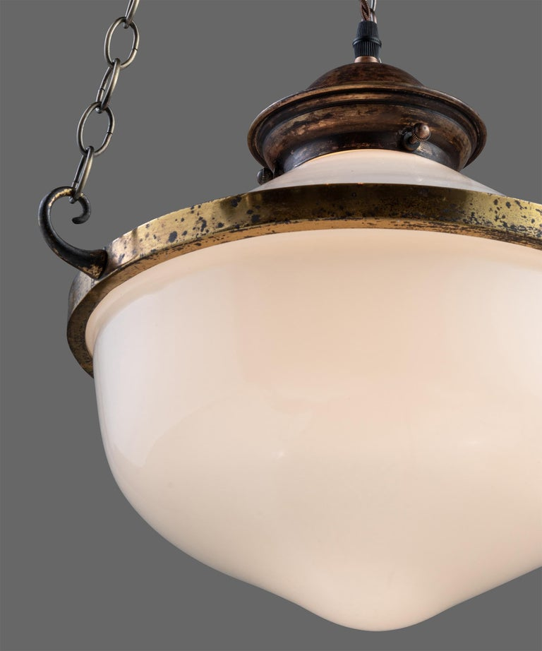 Two Part Opaline Suspension Lamps, England, circa 1930 1