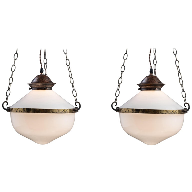 Two Part Opaline Suspension Lamps, England, circa 1930
