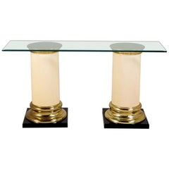 Two Part Pedestal Based Console Table 1980s