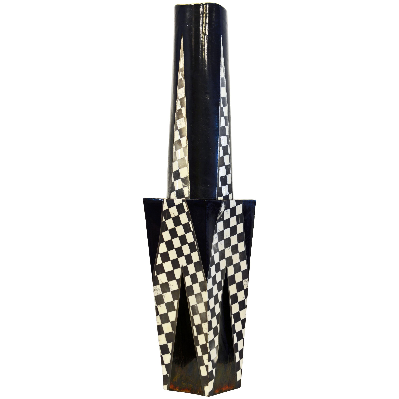 Postmodern Geometric  Unique Two Part Slab Built Studio Vessel or Sculpture