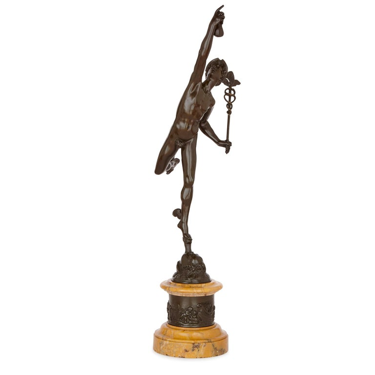Renaissance Two Patinated Bronze Sculptures of Mercury and Fortuna after Giambologna For Sale