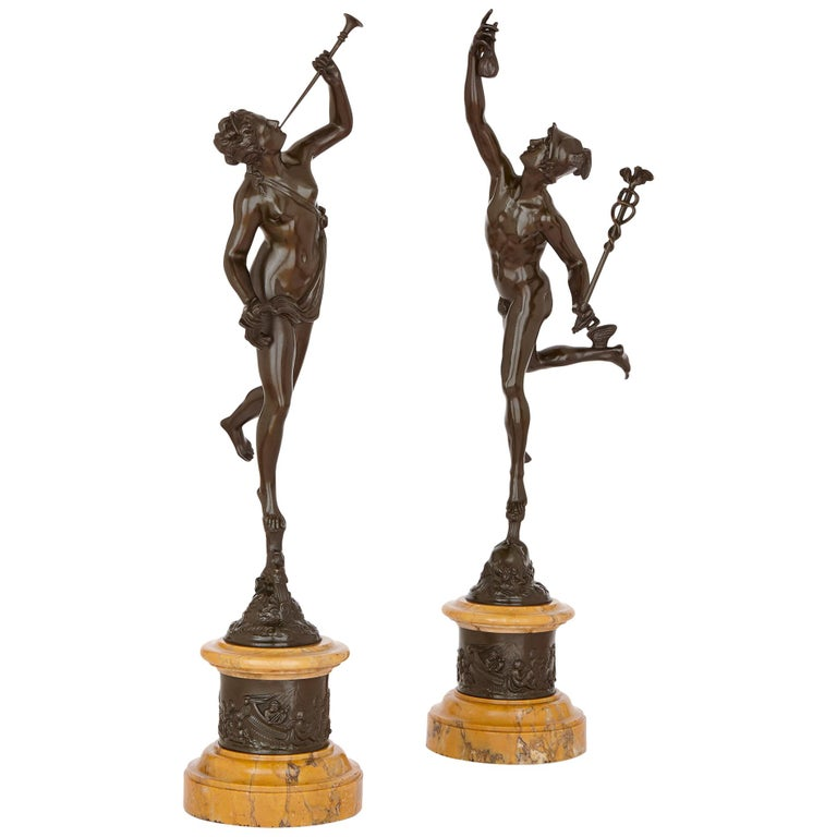 Two Patinated Bronze Sculptures of Mercury and Fortuna after Giambologna For Sale