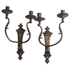 Two Patinated Bronze Two-Light Wall Lights, Mid-18th Century