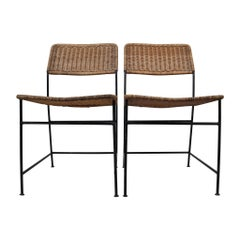 Two Patinated Metal Framed Martin Visser Chairs with Woven Wicker Seat, 1950s