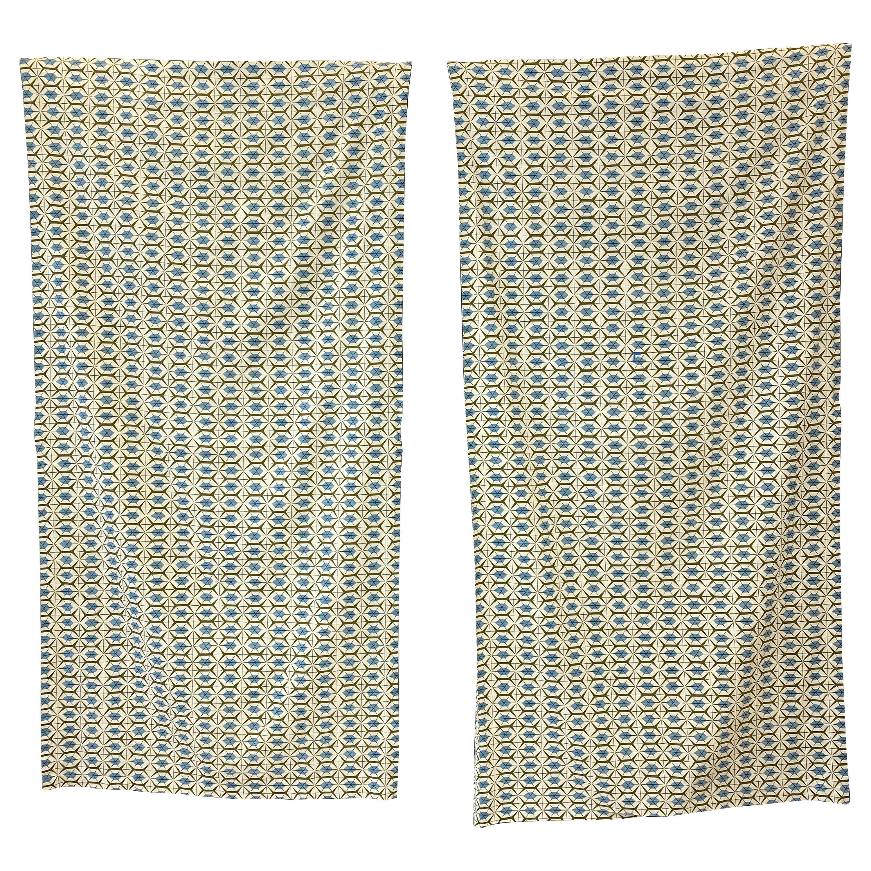 "Two Paul McCobb For Riverdale Fabric Panels ""Hexagonal"" Pattern"