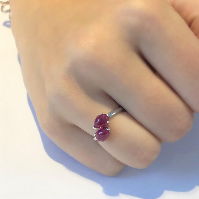 Two Pear Shape Cabochon Ruby Facing Gold Cocktail Ring For Sale 1