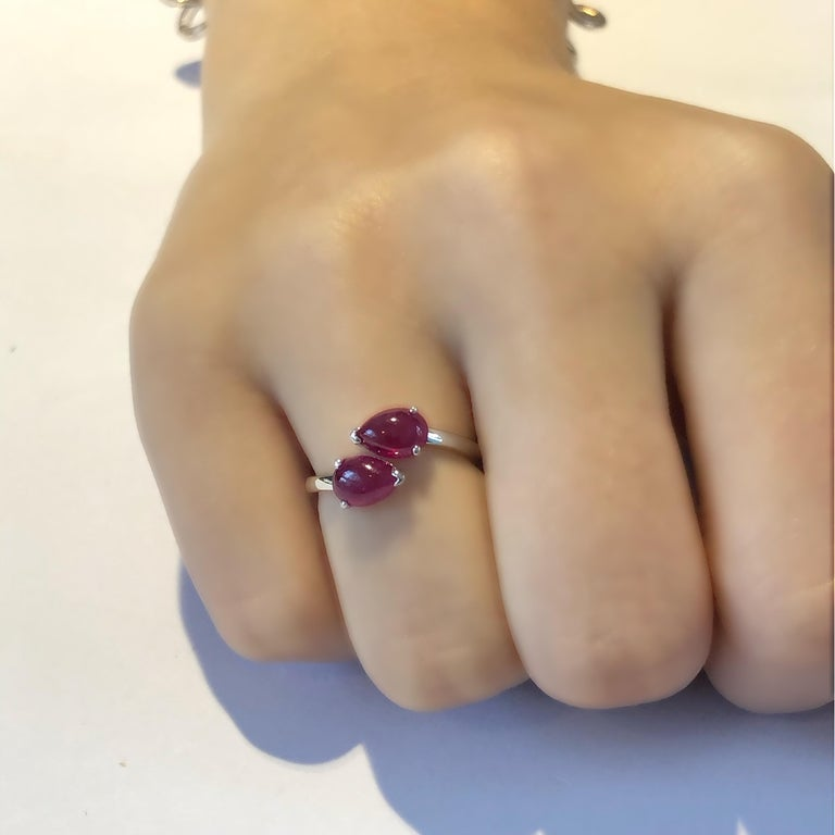 Two Pear Shape Cabochon Ruby Facing Gold Cocktail Ring For Sale 3