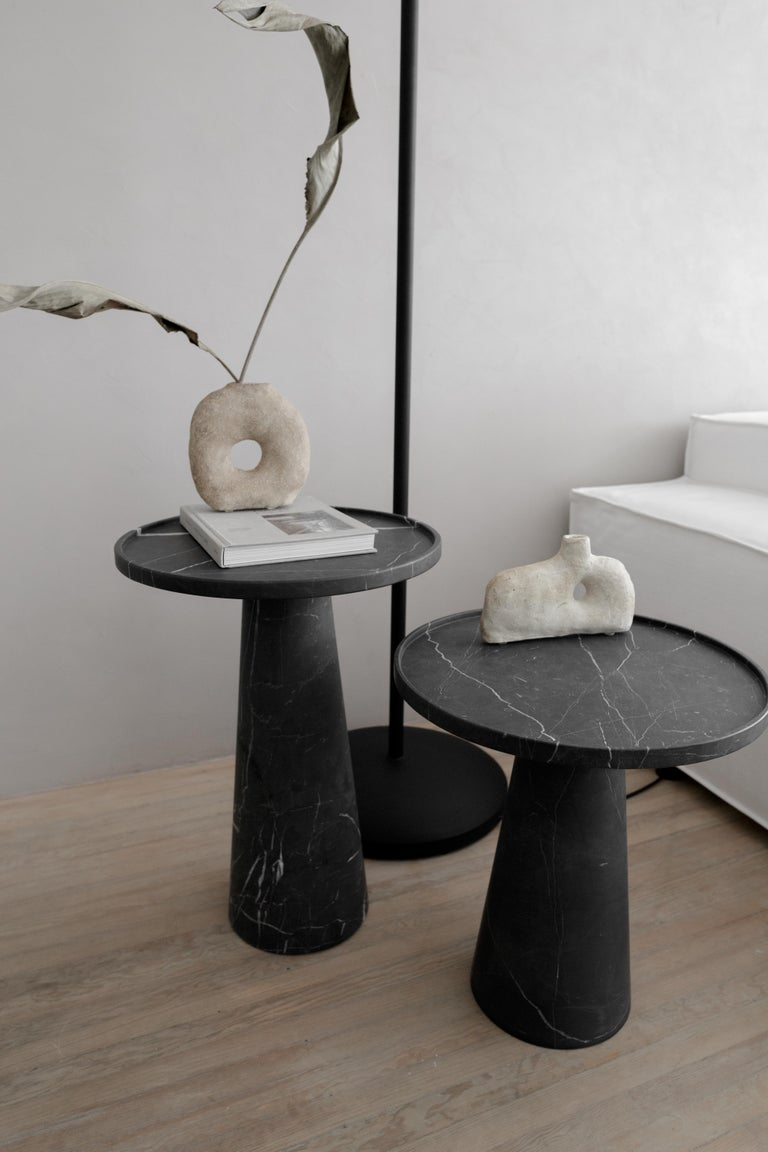 Mexican Two Pedestal Black Marble Side Tables Set For Sale
