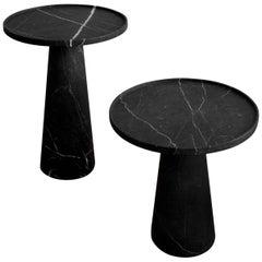 Two Pedestal Black Marble Side Tables Set