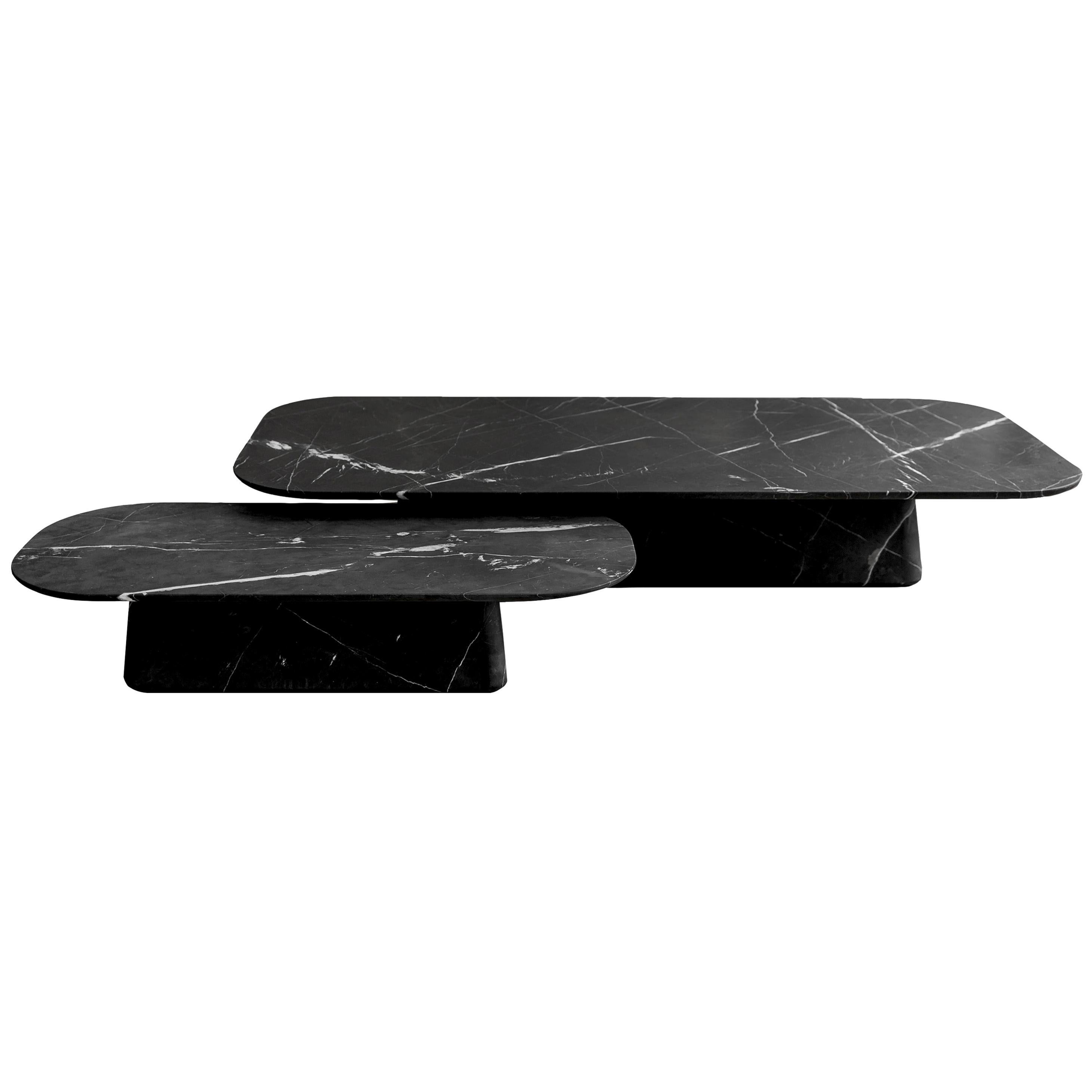 Two Pedestal Coffee Tables in Black Marble Set