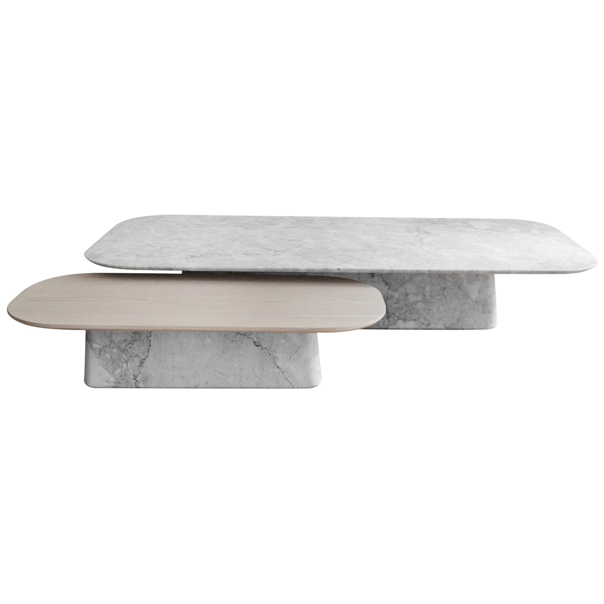Two Pedestal Coffee Tables in White Marble and White Oak Veneer