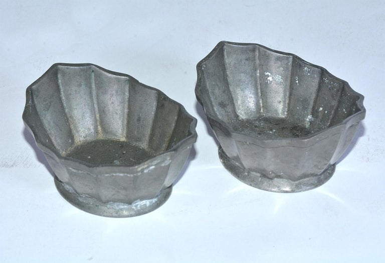 Unknown Two Petite Fluted Pewter Bowls For Sale